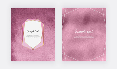 Pink watercolor backgrounds with geometric frame and border lines. Modern templates for card banner, flyer, poster, save the date, greeting