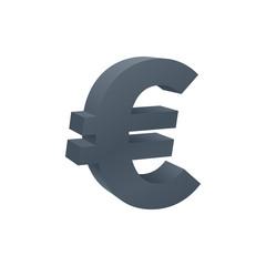 Three dimensional euro symbol, currency icon