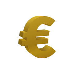 Gold colored euro symbol, currency icon
