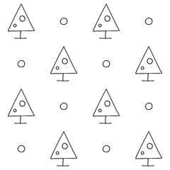 Seamless vector pattern. symmetrical background with hand drawn decorative trees. Black and white print. Graphic design, illustration for wrapping, wallpaper, fabric, packaging, textile