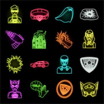 A fantastic superhero neon icons in set collection for design. Superhero's equipment vector symbol stock web illustration.
