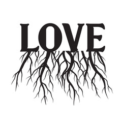 Love and Roots. Valentine's Day. Vector Illustration.