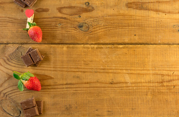 Strawberry with a chocolate.