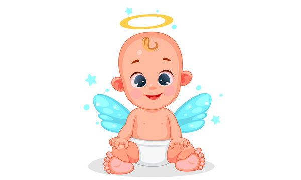 Vector illustration of cute angel baby with beautiful expressions