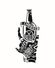 Hand holding the beer bottle - Cheers, vector illustration
