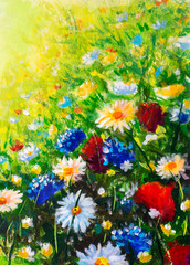 Flowers field oil painting