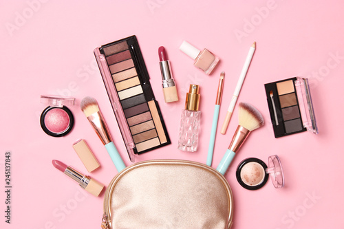 professional makeup tools. Makeup products on a colored