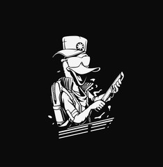 Duck thief cartoon holding knife in his hand concept for t-shirt print
