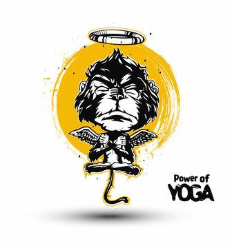 Monkey isolated on black background. Meditation monkey in a yoga pose. vector illustration.