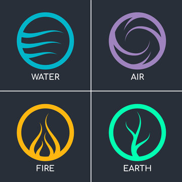 Nature 4 elements in circle abstract icon sign wiht Water, Fire, Earth, Air. vector design