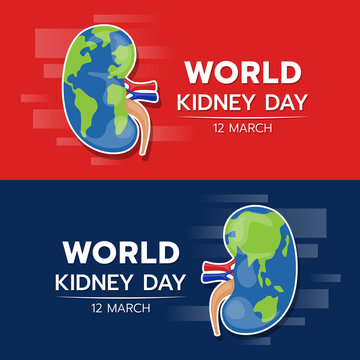 World kidney day banner with kidney earth textuxe sign on red and dark blue background vector design