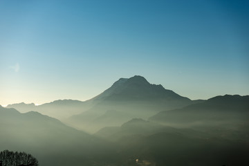 Soft landscape with fog and mountain - Apuan Alps