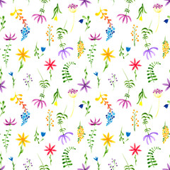 Cute watercolor floral seamless pattern. Colorful