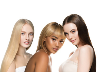Beautiful hair women group beauty concept woman with long hairstyle different color and fashion...