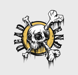 Skull T shirt Graphic Design with text of dead end, vector illustration.