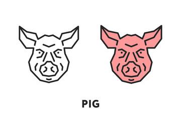 Pig Pork Face Head. Vector Flat Line Stroke Icon.
