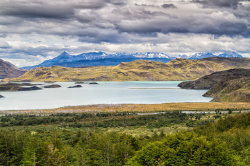 Epic beauty of the landscape - the National Park Torres del Paine in southern Chile. Lago Nordernskjold and mountains in the background