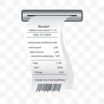 moisturizing conditioner receipt printed, paper financial check. vector illustration