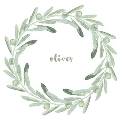 Watercolor floral illustration with olive wreath