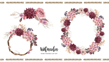 Watercolor floral illustration - flower bouquets, wreath, arrangements for wedding, anniversary, birthday, etc. invitations