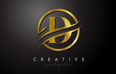 Fototapeta D Golden Letter Logo Design with Circle Swoosh and Gold Metal Texture obraz