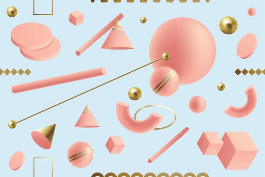 Dynamic 3D geometric seamless pattern in Memphis style