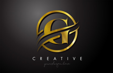 G Golden Letter Logo Design with Circle Swoosh and Gold Metal Texture