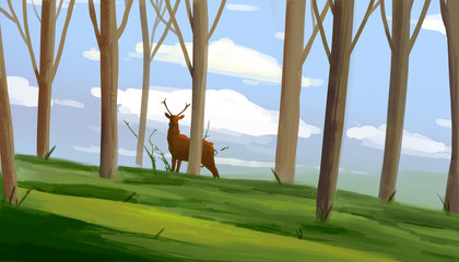 The deer stands in the woods among the trees. Digital drawing