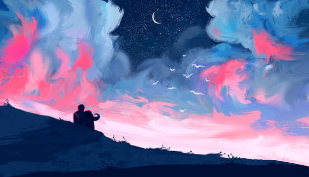 Loving couple looking at the pink sky. Couple sitting on a hill at night. Digital art