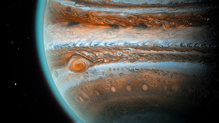 Jupiter planet in space, close up shot. Universe, solar system's giant, beautiful planet with shadow.