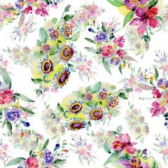 Bouquets floral botanical flower. Watercolor background illustration set. Seamless background pattern.