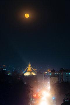 Boudhanath stupa during a full moon night in Kathmandu, Nepal
