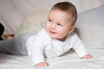Portrait of cute newborn baby boy