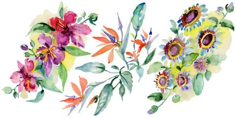 Bouquets floral botanical flower. Watercolor background illustration set. Isolated bouquet illustration element.