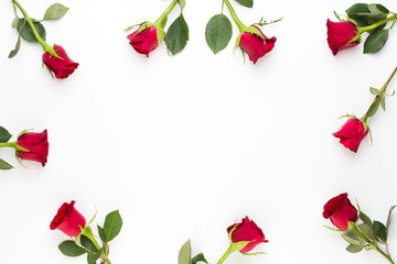 Heart of Roses on the white background. Valentines day greeting card.