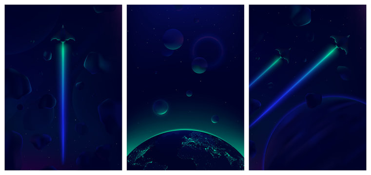 Spaceship flying in deep space with meteorites in the background, Fantastic view of the Earth from space, Neon glowing vector illustration