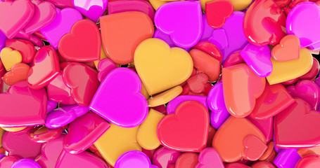 hearts colorful background.valenstines day background.3d rendering