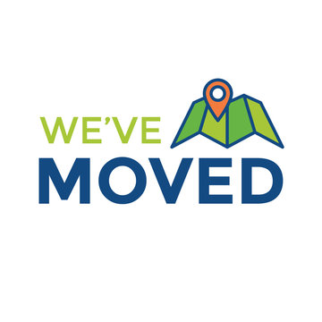 We've Moved Sign w Text Typography & icon to convey moving