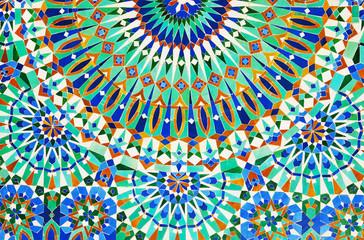 Moroccan mosaic tile, ceramic decoration of Hassan II Mosque, Casablanca, Morocco