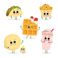 Set of 6 cute cartoon fast food snack characters isolated on white