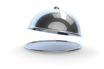 Waiter holding metal tray with cover on white background. Empty restaurant cloche with open lid. 3d illustration.