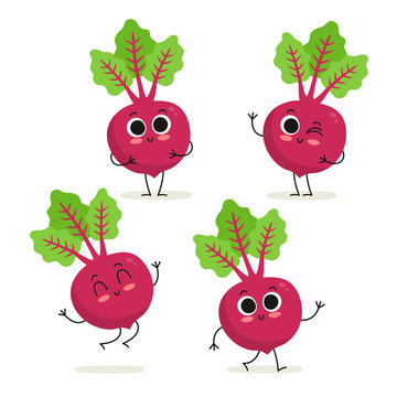 Beet. Cute vegetable vector character set isolated on white