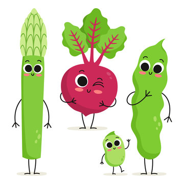Set of 3 cute cartoon vegetable characters isolated on white: asparagus, beet and beans