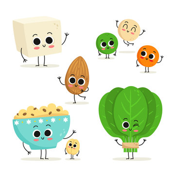 Set of 5 cute cartoon vegan protein food characters isolated on white: tofu, lentils, almond, oats and spinach
