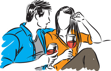 couple drinking wine vector illustration