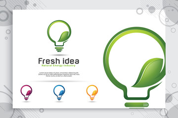 Energy green smart idea vector logo design with modern color style concept , symbol innovation digital lamp with ecology leaf concept