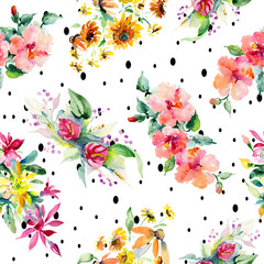 Red, yellow and orange flower bouquets. Watercolor background illustration set. Seamless background pattern.