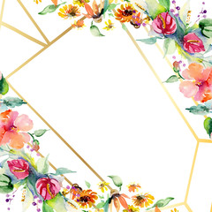 Red, yellow and orange flower bouquets. Watercolor background illustration set. Frame border ornament square.