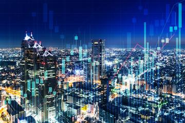 チャートと都市の夜景