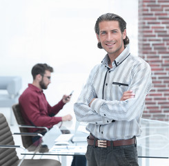 businessman on background of office